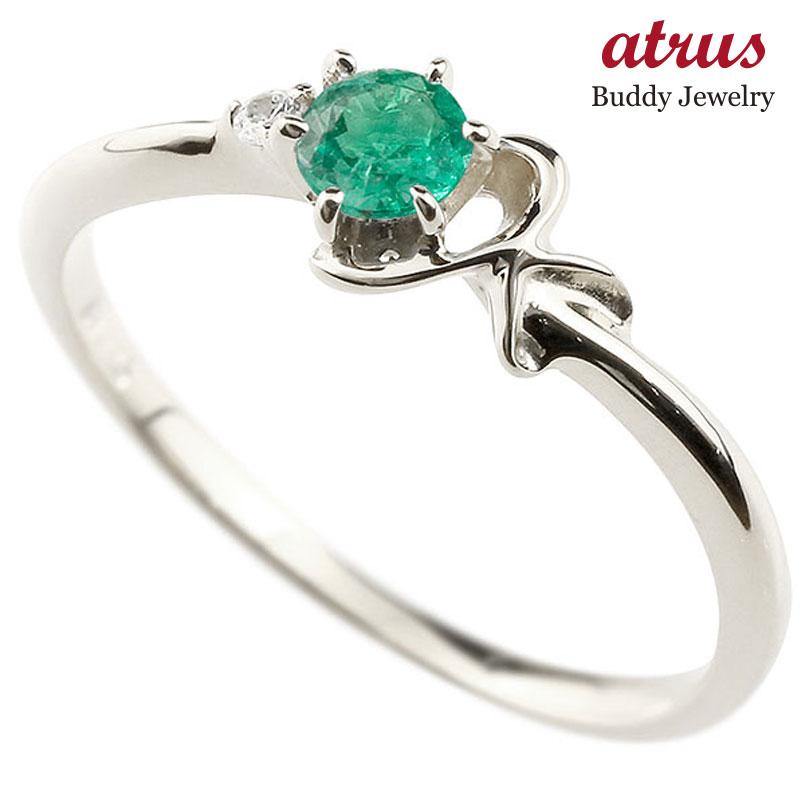 イニシャル K ピンキーリング エメラルド 華奢リング 5月誕生石 プラチナ 指輪 アルファベット ネーム レディース 人気 5月誕生石