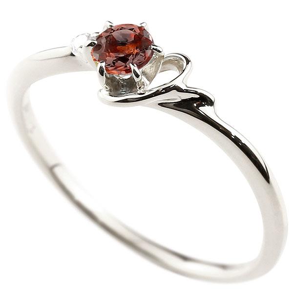 イニシャル Y ピンキーリング ガーネット 華奢リング 1月誕生石 プラチナ 指輪 アルファベット ネーム レディース 人気 1月誕生石