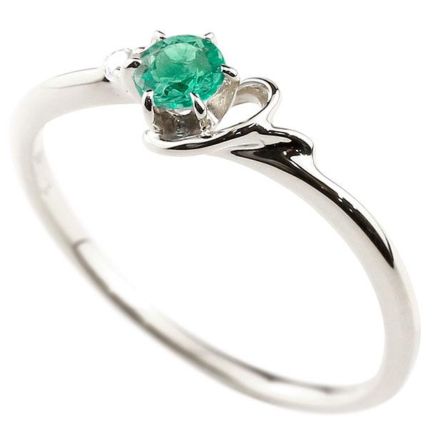 イニシャル Y ピンキーリング エメラルド 華奢リング 5月誕生石 プラチナ 指輪 アルファベット ネーム レディース 人気 5月誕生石