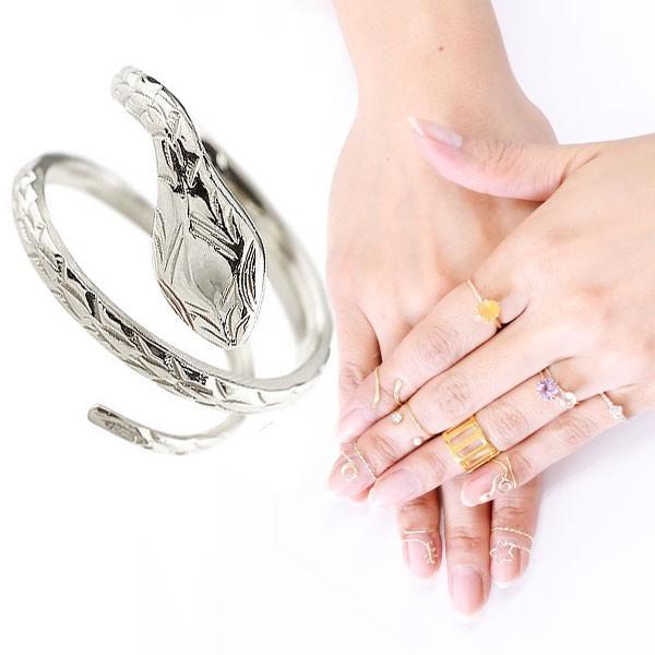 ファランジリング ヘビ 蛇 ミディリング 関節リング 指輪 ホワイトゴールドk18 地金リング ピンキーリング 18金 レディース ネイルリング フリーサイズ