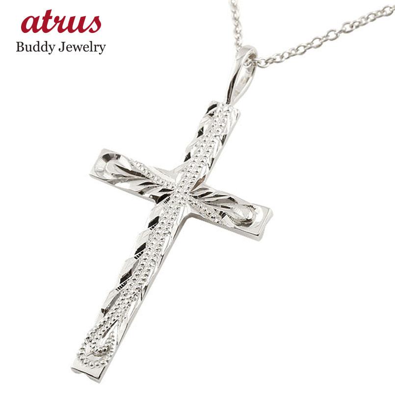 ハワイアンジュエリー クロス ホワイトゴールドk18 ペンダント ネックレス 十字架 ミル打ちデザイン チェーン 人気