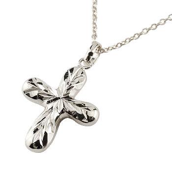 ハワイアンジュエリー クロス ネックレス ペンダント ホワイトゴールドk10 10金 十字架 地金 チェーン 人気