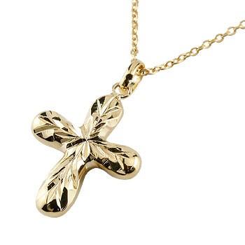 ハワイアンジュエリー クロス ネックレス ペンダント イエローゴールドk18 18金 十字架 地金 チェーン 人気