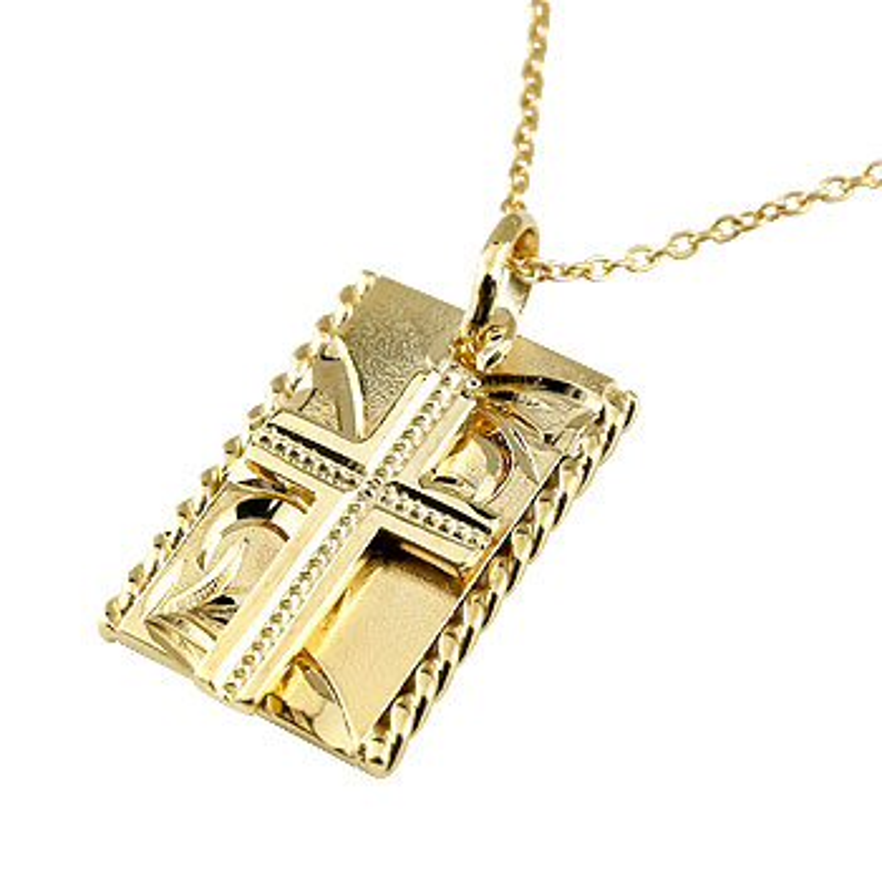 ハワイアンジュエリー クロス プレート ネックレス ペンダント イエローゴールドk18 18金 十字架 ミル打ちデザイン チェーン 人気
