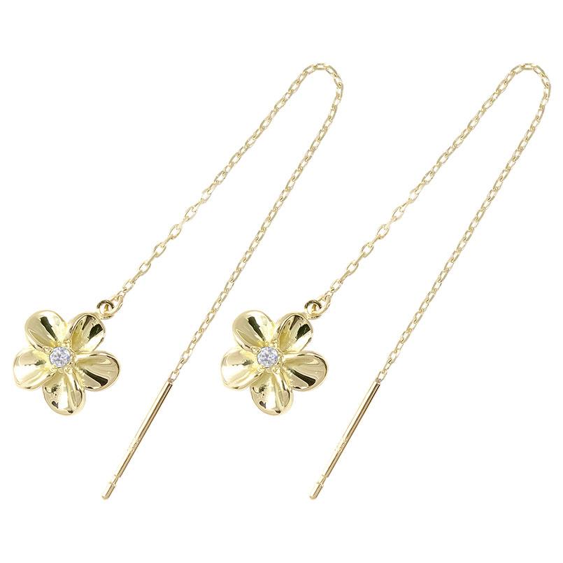 ハワイアン アメリカン ロングピアス ダイヤモンド 花 フラワー イエローゴールドk18 ピアス 揺れる 18金