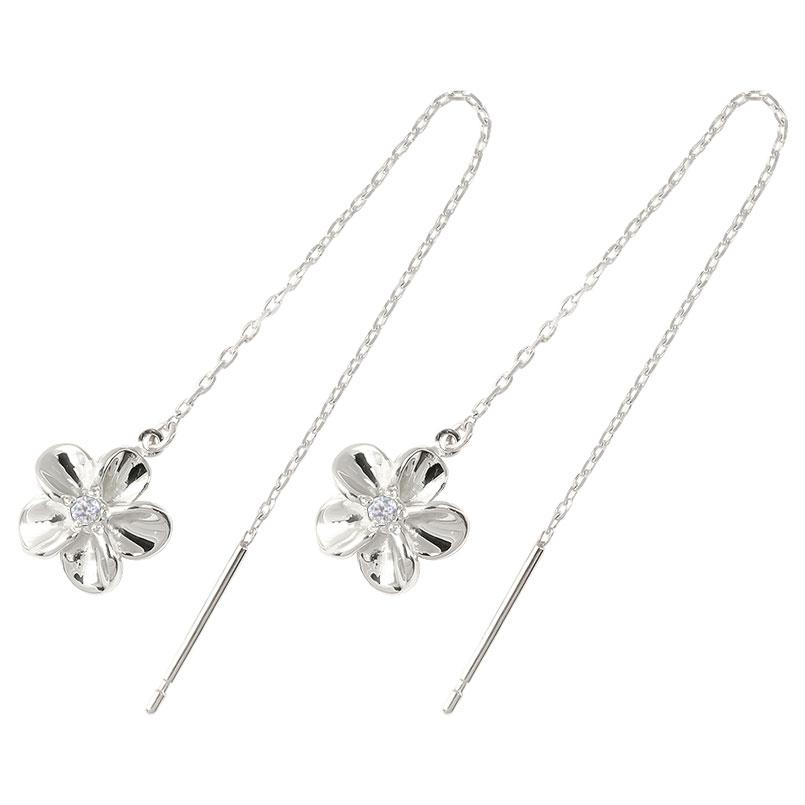 ハワイアン プラチナ アメリカン ロングピアス ダイヤモンド 花 フラワー ピアス 揺れる