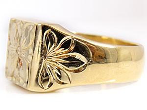 指輪,イエローゴールドk18,ハワイアンジュエリー,工房直販