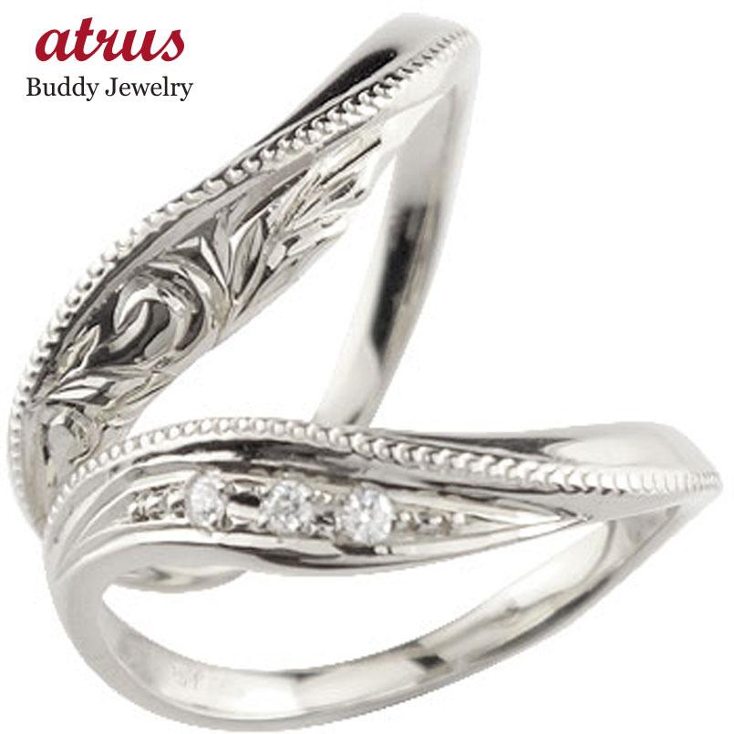 ハワイアンジュエリー ペアリング ダイヤモンド マリッジリング ホワイトゴールドk10