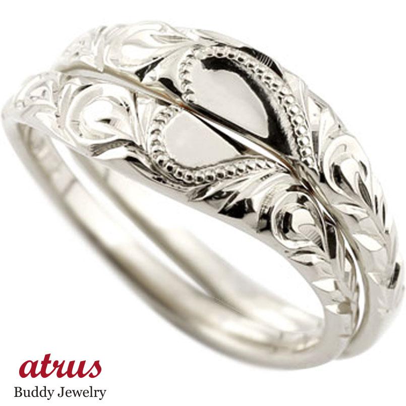 ハワイアン ペアリング 結婚指輪 ホワイトゴールドk18 ハート