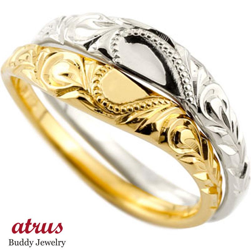 ハワイアン ペアリング 結婚指輪 ゴールドk10 コンビ ハート