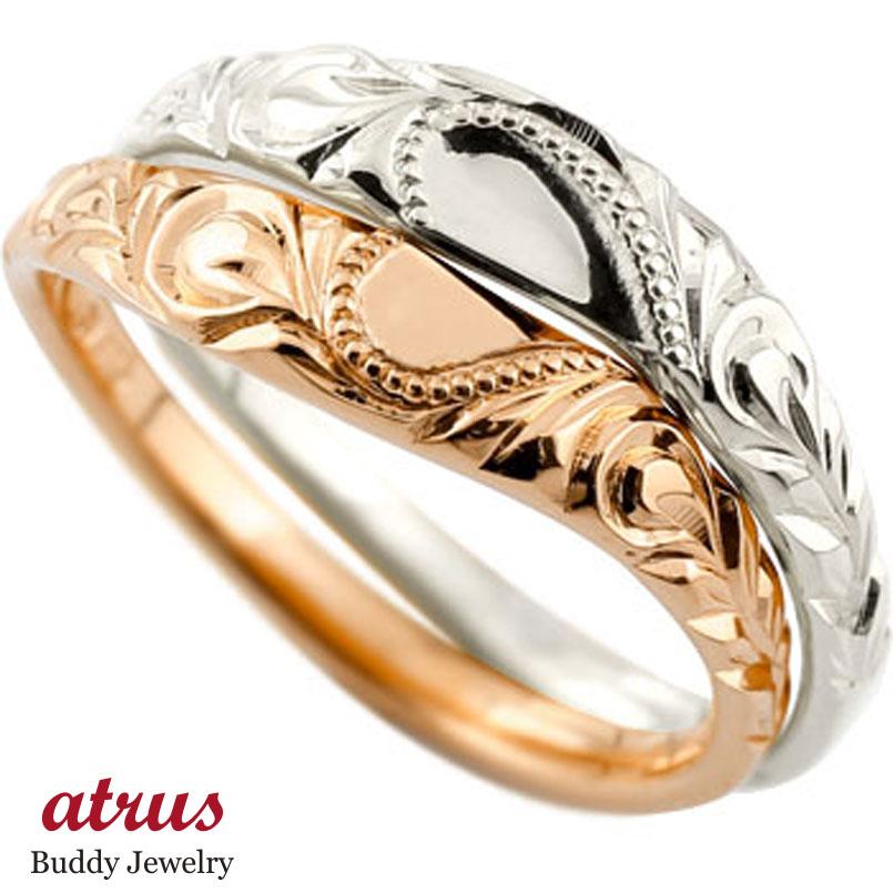 ハワイアン ペアリング 結婚指輪 ハート ピンクゴールドk10