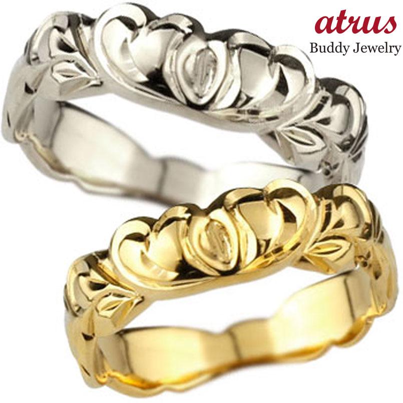 ハワイアン ペアリング 結婚指輪 ハート ピンクゴールドk18 ホワイトゴールドk18
