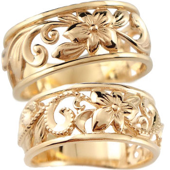 ハワイアン ペアリング 結婚指輪 ミル打ち 幅広 透かし ピンクゴールドk10