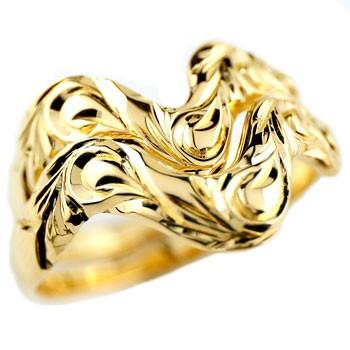 ハワイアンジュエリー ペアリング 結婚指輪 V字 マリッジリング イエローゴールドk18