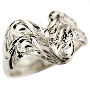 ハワイアンジュエリー ペアリング 結婚指輪 V字 マリッジリング ホワイトゴールドk18