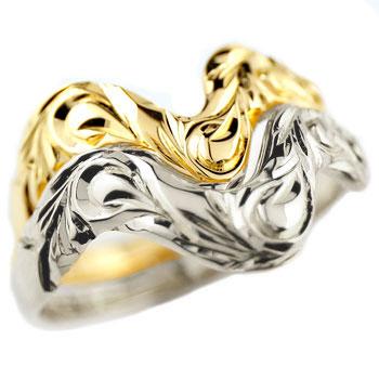 ハワイアンジュエリー ペアリング 結婚指輪 V字 マリッジリング イエローゴールドk18 プラチナ900