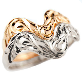ハワイアンジュエリー ペアリング 結婚指輪 V字 マリッジリング ピンクゴールドk18 ホワイトゴールドk18