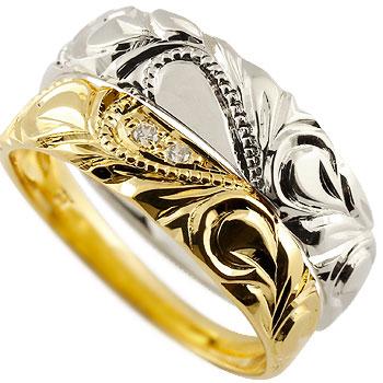 ハワイアン ホワイトゴールドk10 イエローゴールドk10 ペアリング 結婚指輪 ハート