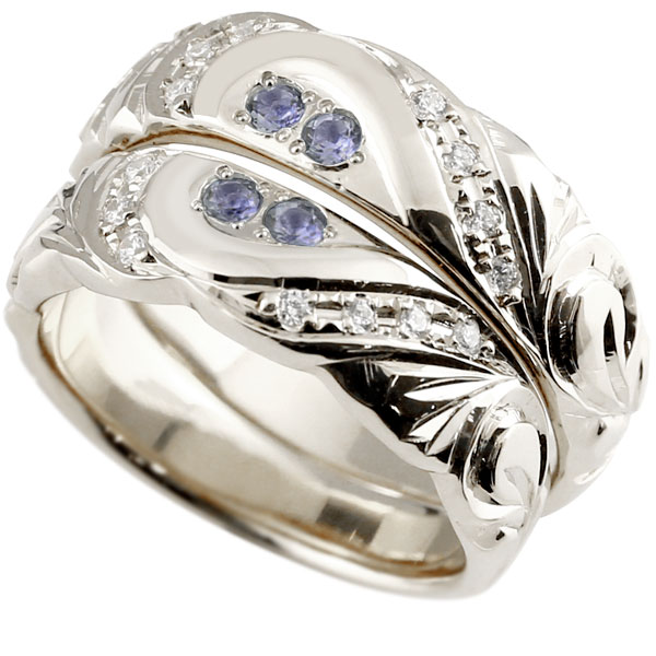 結婚指輪 ペアリング ハワイアンジュエリー アイオライト ダイヤモンド ホワイトゴールドk18 幅広 指輪 マリッジリング ハート ストレート カップル 18金