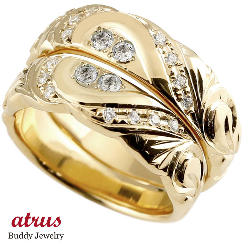 結婚指輪 ペアリング ハワイアンジュエリー ダイヤモンド イエローゴールドk18 幅広 指輪 マリッジリング ハート ストレート カップル 18金