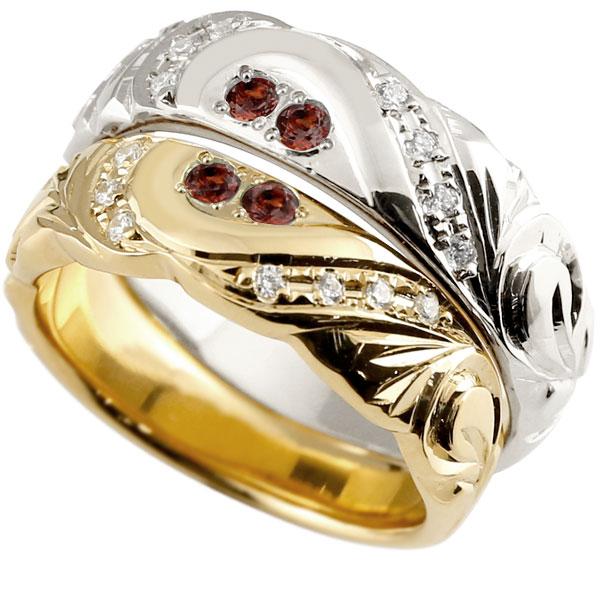 結婚指輪 ペアリング ハワイアンジュエリー ガーネット ダイヤモンド プラチナ イエローゴールドk18 幅広 指輪 マリッジリング ハート ストレート カップル 18金