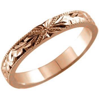 【送料無料】ハワイアンジュエリー:ハワイアンリング:指輪:ピンクゴールドK18:K18PG:プルメリア(花):スクロール(波):小指に記念にお守りとして:ハワイ【工房直販】
