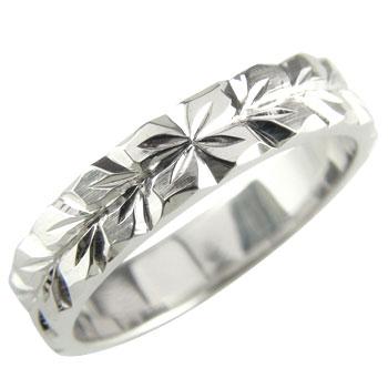 【送料無料】ハワイアンジュエリー:ハワイアンリング:指輪:ホワイトゴールドK18:K18WG:プルメリア(花):マイレ(葉):小指に記念にお守りとして:ハワイ【工房直販】