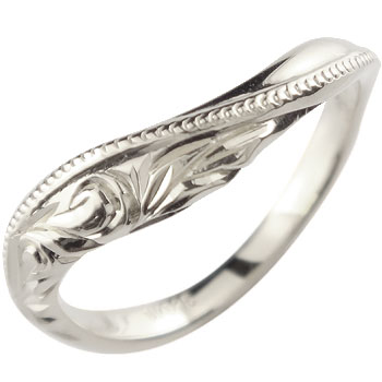 ハワイアンジュエリー リング 指輪 ホワイトゴールドk18