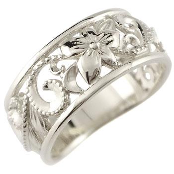 ハワイアンジュエリー リング 指輪 幅広 透かし ミル打ち ホワイトゴールドk18