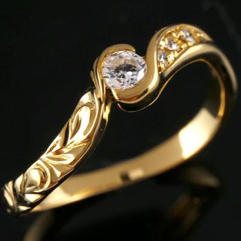 ハワイアンジュエリー ダイヤモンド リング 指輪 イエローゴールドk18