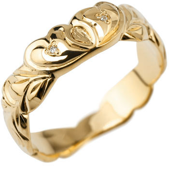 ハワイアンジュエリー ハート リング ダイヤモンド 指輪 イエローゴールドk18