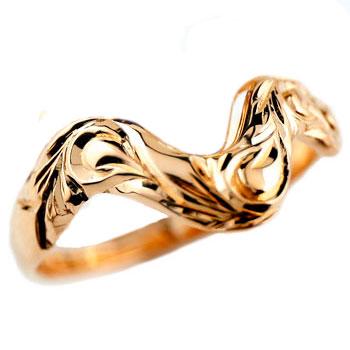 ハワイアンジュエリー V字 リング 指輪  ハワイアンリング レディース ピンクゴールドk18