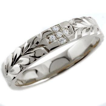 ハワイアンジュエリー クロス ダイヤモンド リング 指輪 ダイヤモンドリング ハワイアンリング ホワイトゴールドk18 レディース