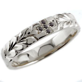 ハワイアンジュエリー クロス ブラックダイヤモンド ホワイトゴールドk18  リング 指輪 ダイヤモンドリング ハワイアンリング レディース