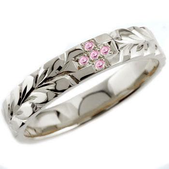 ハワイアンジュエリー クロス ピンクキュービック プラチナ リング 指輪 ハワイアンリング レディース
