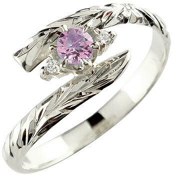 ハワイアンジュエリー リング ピンクサファイア 指輪 ハワイアンリング シルバー 9月誕生石 sv925 ストレート