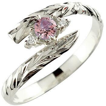 ハワイアンジュエリー リング ピンクトルマリン ホワイトゴールドk18 指輪 ハワイアンリング 10月誕生石 18金 k18wg ストレート
