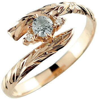 ハワイアンジュエリー リング アクアマリン ピンクゴールドk18 指輪 ハワイアンリング 3月誕生石 18金 k18pg ストレート