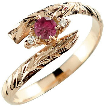 ハワイアンジュエリー リング ルビー ピンクゴールドk18 指輪 ハワイアンリング 7月誕生石 18金 k18pg ストレート