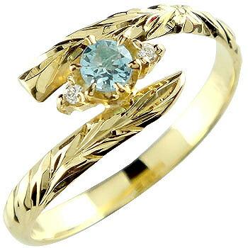ハワイアンジュエリー リング ブルートパーズ イエローゴールドk18 指輪 ハワイアンリング 11月誕生石 18金 k18