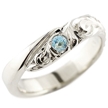 ハワイアンジュエリー ブルートパーズ シルバーリング 指輪 ハワイアンリング スパイラル sv925 レディース 11月誕生石