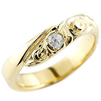 ハワイアンジュエリー イエローゴールドリング 指輪 ハワイアンリング スパイラル k10 レディース