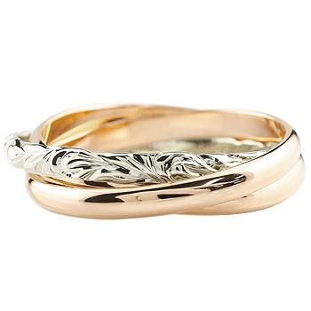 ハワイアンジュエリー 3連リング ピンクゴールドk18 プラチナ 指輪 ピンキーリング ハワイアンリング コンビリング 地金リング 18金 pt900