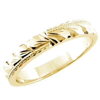 【送料無料】ハワイアンジュエリー:ハワイアンリング:指輪:イエローゴールドk18:k18:マイレ:小指に記念にお守りとして:ハワイ【工房直販】
