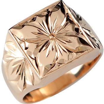 【送料無料】ハワイアンジュエリー:ハワイアンリング:指輪:ピンクゴールドk18:k18pg:プルメリア(花):マイレ(葉):小指に記念にお守りとして:ハワイ【工房直販】