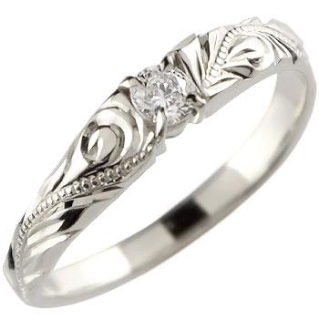 ハワイアンジュエリー 一粒ダイヤモンド リング 指輪 ホワイトゴールドk10