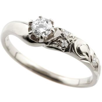 ハワイアンジュエリー 大粒ダイヤモンド リング 指輪 ホワイトゴールドk18