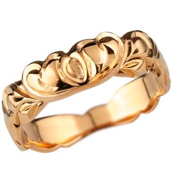 ハワイアンジュエリー ハートリング 指輪 ピンクゴールドk18