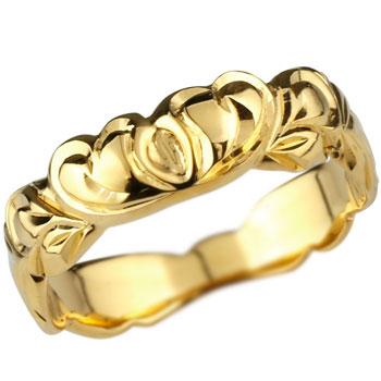 ハワイアンジュエリー ハートリング 指輪 イエローゴールドk18