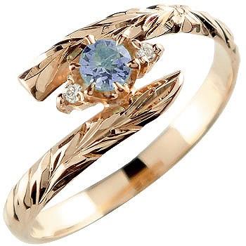 ハワイアンジュエリー リング アイオライト ピンクゴールドk18 指輪 ハワイアンリング 18金 k18pg ストレート